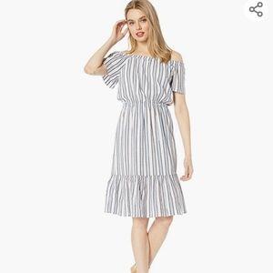 JCREW Mercantile Off-The-Shoulder Striped dress